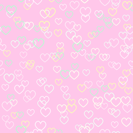 Heart pattern. Seamless vector background - rose, yellow, green contoured hearts on pink backdrop 写真素材 - 100407716