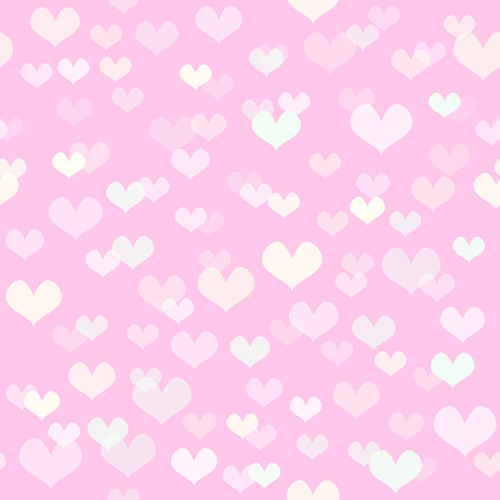 Heart pattern. Seamless vector background - light rose, green, yellow hearts on pink backdrop