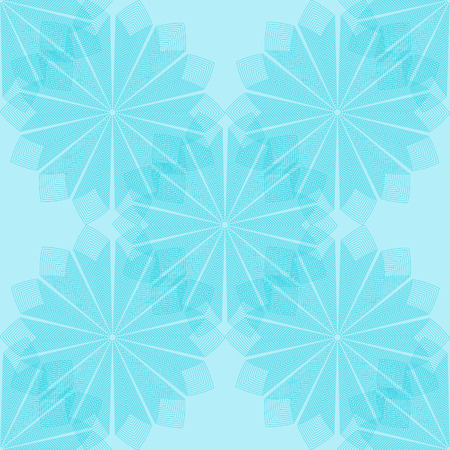 Cyan flower pattern. Seamless vector background - cyan ornate flowers made of diamonds on light blue backdrop.