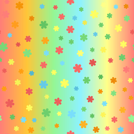 Summer flower pattern. Seamless vector background - red, orange, yellow, green, blue daisies on glowing backdrop.