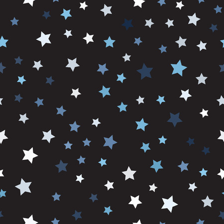 Random star pattern. Seamless vector background - blue, gray and white stars on black backdrop Illustration