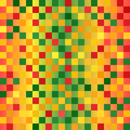 Glowing checkered pattern. Seamless vector background - red, light green, yellow, green, orange squares on gradient backdrop Illustration