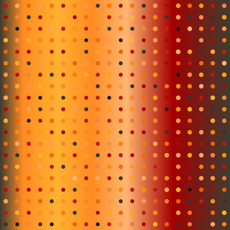Polka dot pattern. Seamless vector background - red, peach, black, orange, pumpkin circles of different size on gradient backdrop