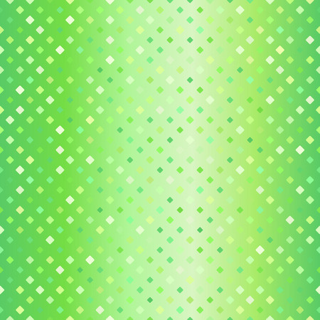 Glowing diamond pattern. Seamless vector background - green rounded diamond of different size on gradient backdrop