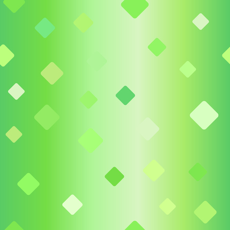 Gradient diamond pattern. Seamless vector background - green rounded diamonds on glossy backdrop