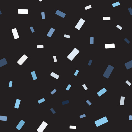 Rounded rectangle pattern. Seamless vector background - blue, gray and white rectangles on black backdrop