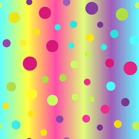 Dot pattern. Seamless vector background - cyan, yellow, rose, green, violet circles on glowing backdrop