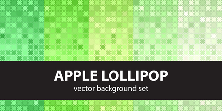 Abstract pattern set Apple Lollipop. Vector seamless backgrounds - green shapes on gradient backdrops Çizim