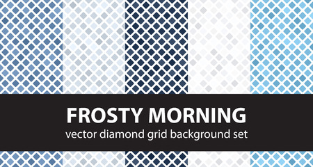 Diamond pattern set Frosty Morning. Vector seamless geometric backgrounds - blue, gray and white rounded diamonds on white backdrop