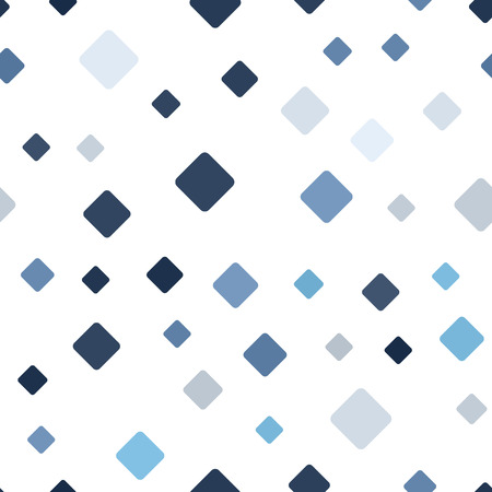 Diamond pattern. Seamless vector background - blue, gray and white rounded diamonds on white backdrop