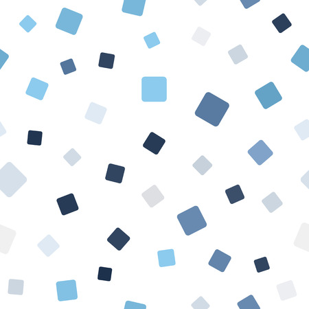 Random square pattern. Seamless vector background - blue, gray and white rounded squares on white backdrop  イラスト・ベクター素材