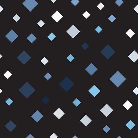 Diamond pattern. Seamless vector background - blue, gray and white diamonds on black backdrop