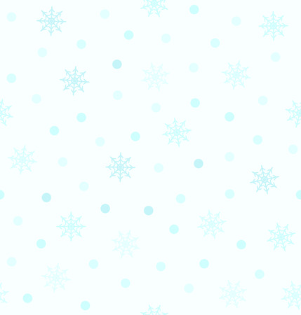 Cyan snowflake pattern with dots. Seamless vector background - blue snowflakes and circles on light cyan backdrop