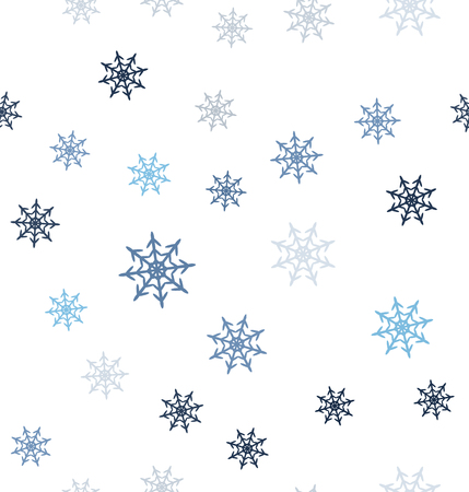 Snowflake pattern. Seamless vector background - blue, gray and white snowflakes on white backdrop  イラスト・ベクター素材