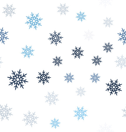 Snowflake pattern. Seamless vector background - blue, gray and white snowflakes on white backdrop Ilustrace