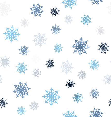Snowflake pattern. Seamless vector background - blue, gray and white snowflakes on white backdrop Çizim
