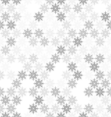 Gray snowflake pattern. Seamless vector background - gray snowflakes on white backdrop  イラスト・ベクター素材