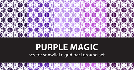 Snowflake pattern set Purple Magic. Vector seamless backgrounds - amethyst, lavender, plum, purple, violet snowflakes on white backdrops  イラスト・ベクター素材