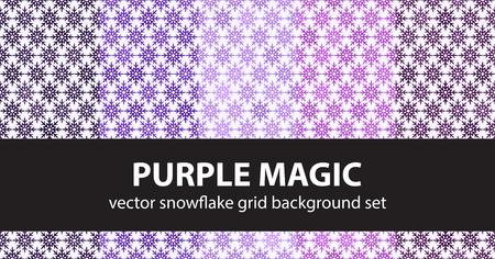 Snowflake pattern set Purple Magic. Vector seamless backgrounds - amethyst, lavender, plum, purple, violet snowflakes on white backdrops Illustration
