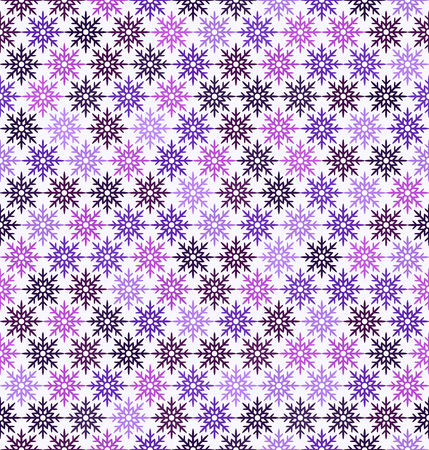 Snowflake pattern. Seamless vector background - amethyst, lavender, plum, purple, violet snowflakes on white backdrop  イラスト・ベクター素材