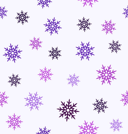 Snowflake pattern. Seamless vector background - amethyst, lavender, plum, purple, violet snowflakes on white backdrop Vettoriali