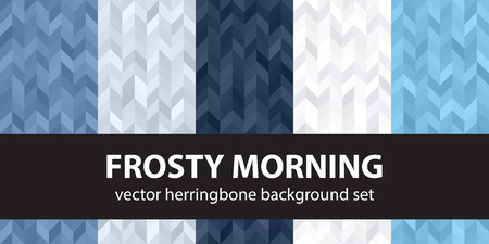 Herringbone pattern set Frosty Morning. Vector seamless parquet backgrounds with blue, gray and white polygons