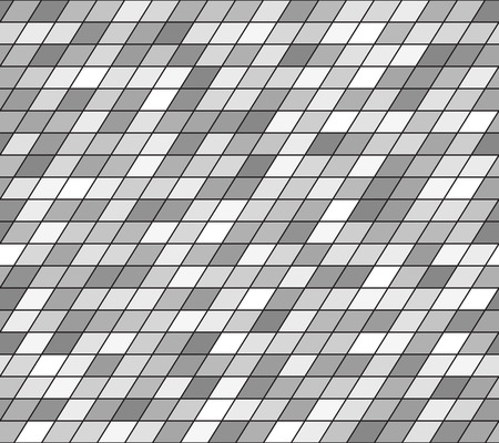 Gray parallelogram pattern. Seamless vector background - grey polygons on black backdrop  イラスト・ベクター素材