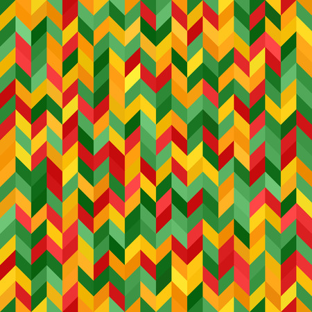 Herringbone pattern. Seamless vector background with red, light green, yellow, green, orange polygons