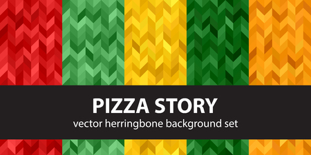 Herringbone pattern set Pizza Story. Vector seamless parquet backgrounds with red, light green, yellow, green, orange polygons