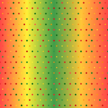 Glowing star pattern. Seamless vector background - red, light green, yellow, green, orange stars of different size on gradient backdrop