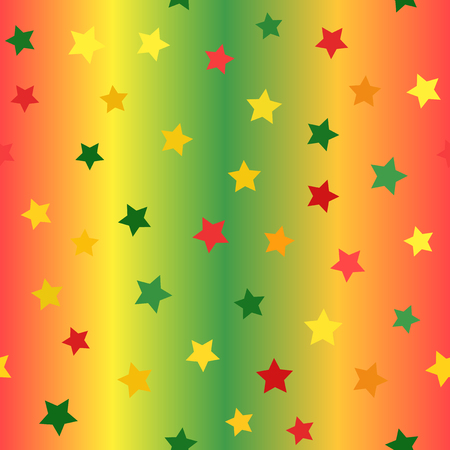 Glossy star pattern. Seamless vector background - red, light green, yellow, green, orange stars on glowing backdrop