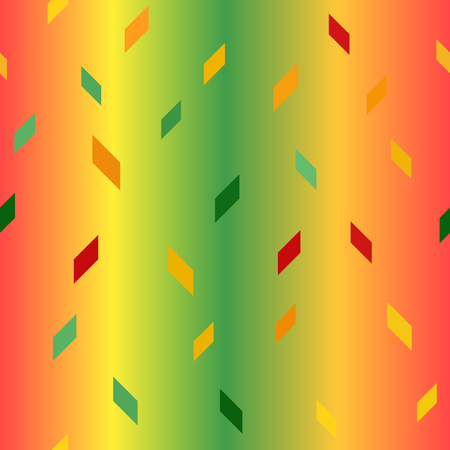 Parallelogram pattern. Seamless vector background - red, light green, yellow, green, orange polygons on gradient backdrop  イラスト・ベクター素材