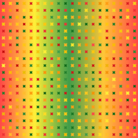Glowing abstract pattern. Vector seamless background - red, light green, yellow, green, orange shapes of different size on gradient backdrop