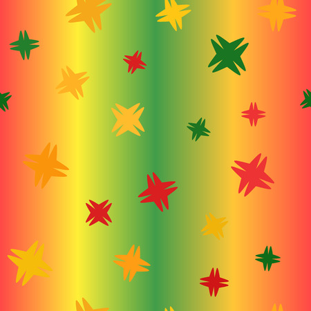 Glowing absract pattern. Seamless vector background - red, light green, yellow, green, orange shapes on gradient backdrop