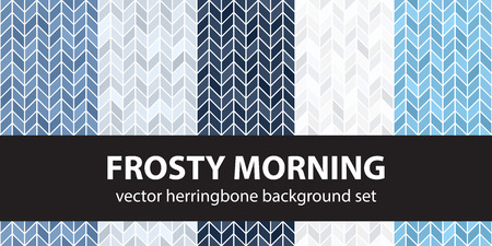 Herringbone pattern set Frosty Morning. Vector seamless parquet backgrounds - blue, gray and white polygons on white backdrops Illustration