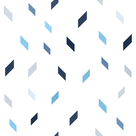 Parallelogram pattern. Seamless vector background - blue, gray and white polygons on white backdrop
