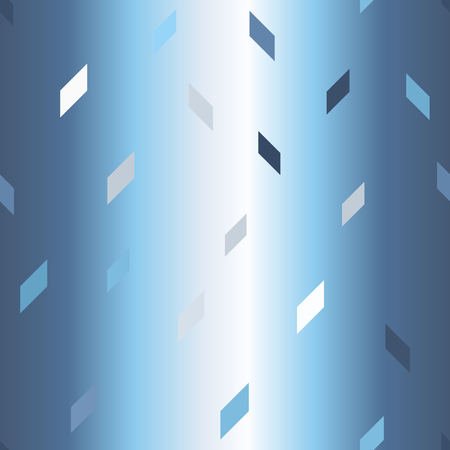 Glowing parallelogram pattern. Seamless vector background - blue, gray and white polygons on gradient backdrop