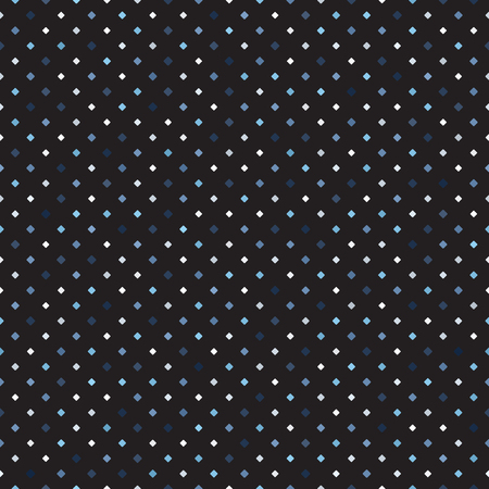 Diamond pattern. Seamless vector background - blue, gray and white rounded diamonds of different size on black backdrop  イラスト・ベクター素材