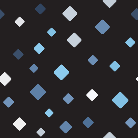 Diamond pattern. Seamless vector background - blue, gray and white rounded diamonds on black backdrop