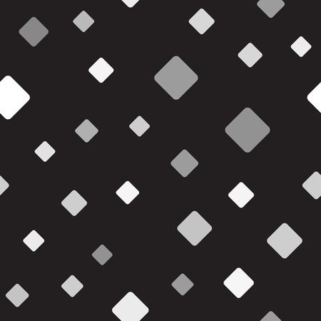 Gray rounded diamond pattern. Seamless vector background - gray diamonds on black backdrop  イラスト・ベクター素材