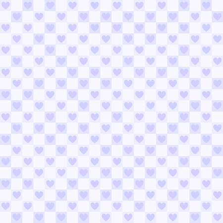 Violet checkered pattern with hearts. Seamless vector background - hearts and squares on light lavender backdrop