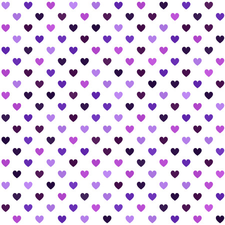 Heart pattern. Seamless vector background - amethyst, lavender, plum, purple, violet hearts on white backdrop