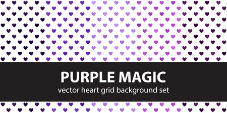 Heart pattern set Purple Magic. Vector seamless backgrounds - amethyst, lavender, plum, purple, violet hearts on white backdrops