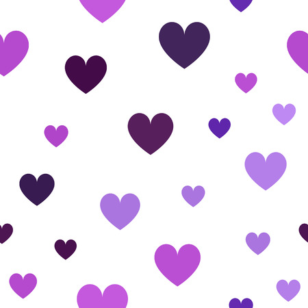 Heart pattern. Seamless vector love background - amethyst, lavender, plum, purple, violet hearts on white backdrop