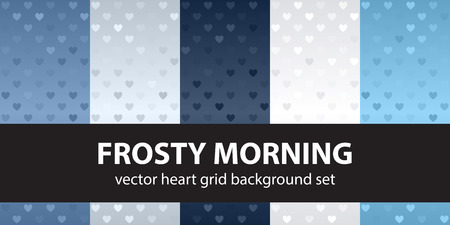 Heart pattern set Frosty Morning. Vector seamless backgrounds - blue, gray and white hearts on gradient backdrops  イラスト・ベクター素材