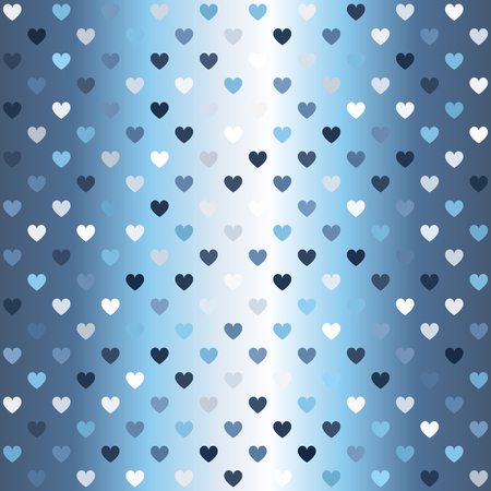 Glowing heart pattern. Seamless vector background - blue, gray and white hearts on gradient backdrop  イラスト・ベクター素材