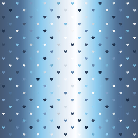 Gradient heart pattern. Seamless vector background - blue, gray and white hearts of different size on glowing backdrop Illustration