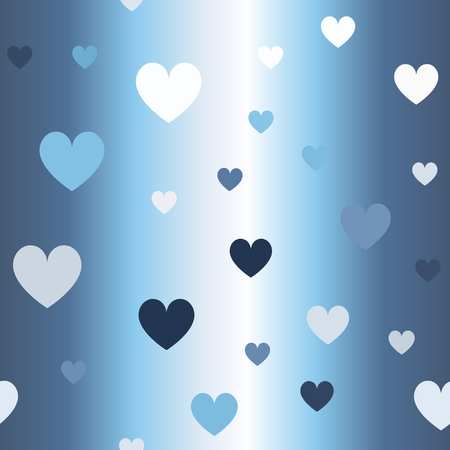 Glowing heart pattern. Seamless vector background - blue, gray and white hearts on gradient backdrop 写真素材 - 126315965