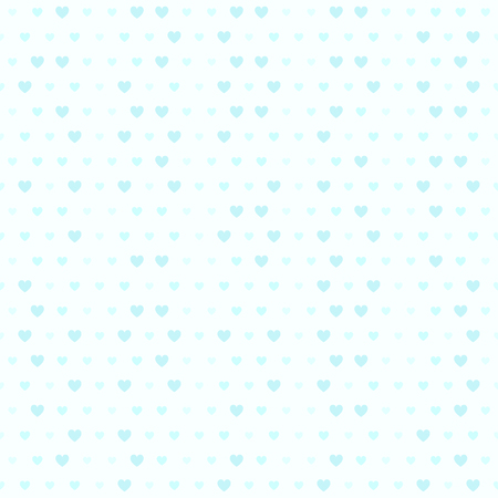 Cyan heart pattern. Seamless vector background - blue hearts of different size on light cyan backdrop  イラスト・ベクター素材