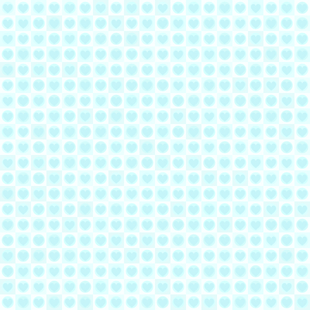 Cyan heart pattern with dots and squares. Seamless vector background - blue hearts, dots, squares on light cyan backdrop